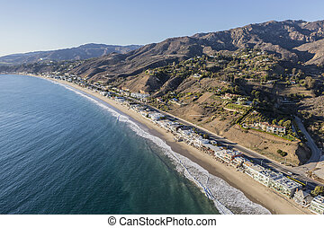 Aerial of Los Angeles County Beach Houses