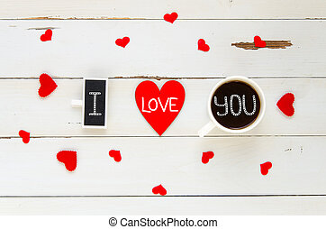 St Valentine's Day vintage overhead composition of I love you confession