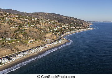 Aerial of Homes and Mountains on the Malibu California Coast...