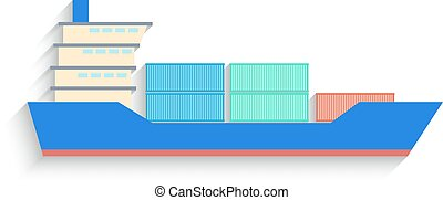 Flat Design container ship Isolated on white Background. Vector