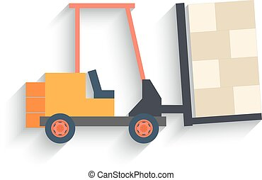 Flat Design forklift Isolated on white Background. Vector