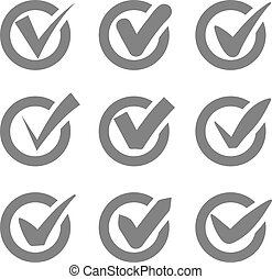Check mark icons. Grey tick check marks in circles. Vector...