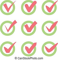 Check mark icons. Red tick check marks in green circles. Vector