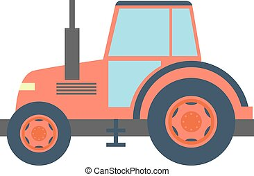 Transport flat tractor icon isolated on white. Vector...