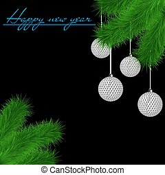 Golf balls on Christmas tree branch