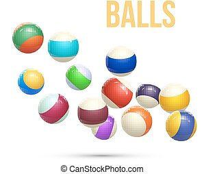Colorful Striped balls. 3d Spheres. Balls isolated on white...