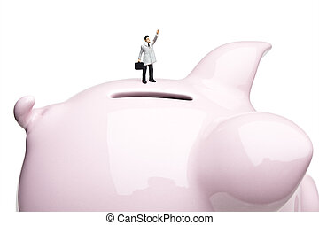 Small business loan - Businessman figurines placed on a...