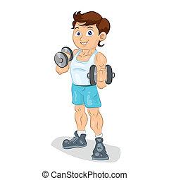 bodybuilder sportsman brunette boy trains with dumbbells