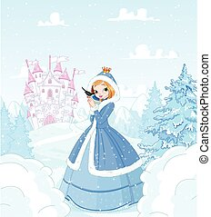 Winter Princess - Cute princess in the snow, standing in...