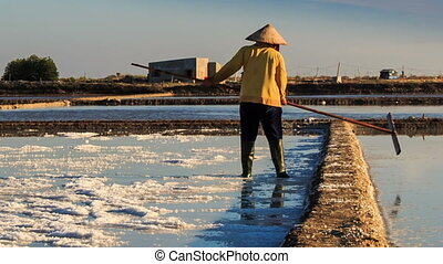 Backside Men Work on Salt Field at Sunset