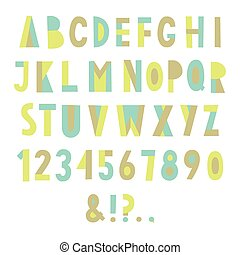 Colorful geometric font.