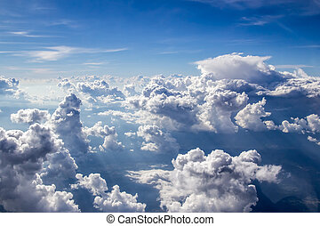 On the cloud in the sky softly focus aerial view