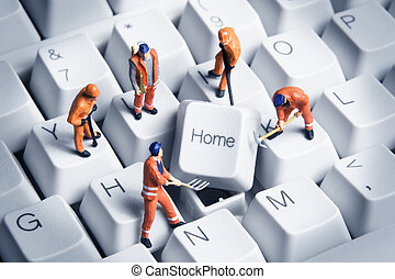 Building a home based business - Worker figurines posed...
