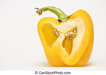 yellow pepper on a white background - slice yellow pepper on...