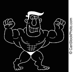 Cartoon Strongman - Monochrome outline cartoon strongman...
