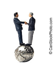 Small business global partnership - Two business figurines...