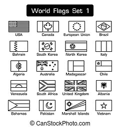 World flags set 1 . simple style and flat design . thick outline . black and white .