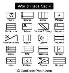 World flags set 4 . simple style and flat design . thick outline .