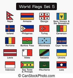 World flags set 5 . simple style and flat design . thick outline .