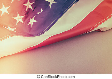 American flag ( Filtered image processed vintage effect. ) ....