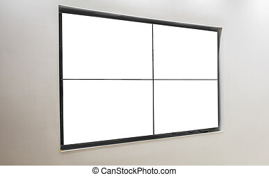 TV screen on wall . - TV screen on wall