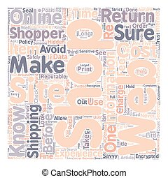 Are YOU a Savvy Online Shopper text background wordcloud concept