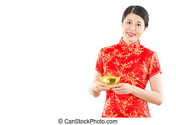 chinese woman holding golden ingot - beautiful mixed race...