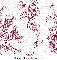 Seamless vector background with drawings of blossom garnet...