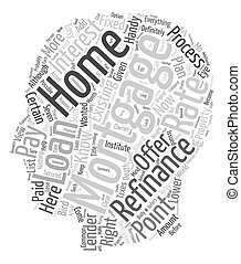 Aspects Of Home Mortgage Refinance text background wordcloud...