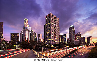 LA At Night - Los Angeles during rush hour at sunset