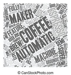 Automatic Espresso Coffee Makers text background wordcloud...
