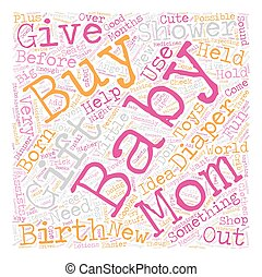 baby shower gift text background wordcloud concept