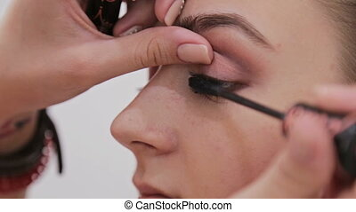 Close up shot.Professional make-up artist applying mascara...