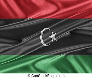 Libya flag with a glossy silk texture. - Libya flag. Flag...