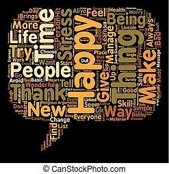 Be happy text background wordcloud concept