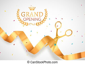 Grand Opening invitation banner. Golden Ribbon cut ceremony event. Grand opening celebration card poster