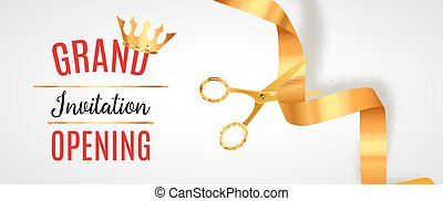 Grand Opening invitation banner. Golden Ribbon cut ceremony event. Grand opening celebration card