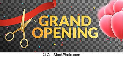 Grand Opening event invitation banner with balloons and confetti. Grand Opening poster template design on tranparent