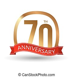 70 years anniversary experience gold label with red ribbon, vector illustration