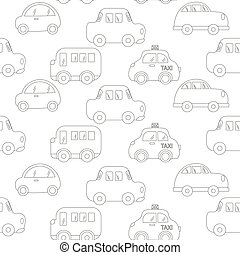 Traffic jam. Cars drawing on gray background. Seamless vector wallpaper