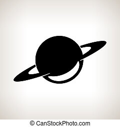 Silhouette planet Saturn on a light background, black and...