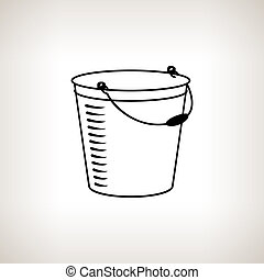 Silhouette bucket on a light background