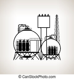 Silhouette of a chemical plant or refinery processing of...