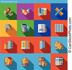 Set of 16 real estate vector flat icons in material style
