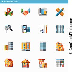 Set of 16 real estate vector flat icons in material style -...