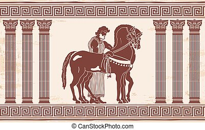 Vector Greek drawing. - Greek style drawing Pano with...