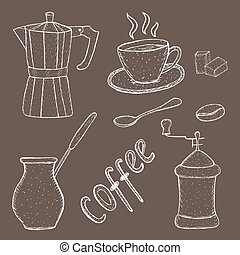 Collection of coffee sketch tool, hand drawing, vintage style. vector illustration;