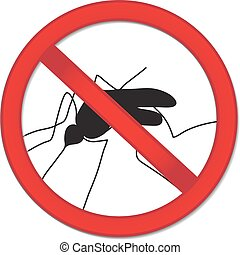 Red sign ban mosquito. Stop mosquito insect. Vector...