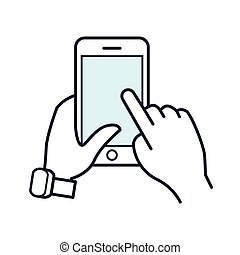 Line smartphone icon. Mobile phone in hand. - Line...
