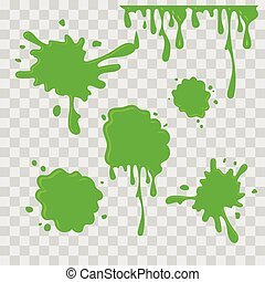 Paint drop abstract illustration. Green slime on checkered transparent background. Flat style. Vector set.